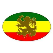 Roots Rasta Reggae Lion Oval Decal