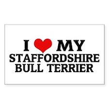 I Love My Staffordshire Bull Sticker (Rectangular