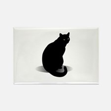 Basic Black Cat Rectangle Magnet (10 pack)