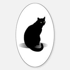 Basic Black Cat Sticker (Oval)