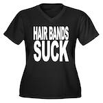 Hair Bands Suck Women's Plus Size V-Neck Dark T-Sh