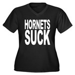 Hornets Suck Women's Plus Size V-Neck Dark T-Shirt