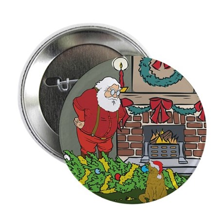 "Santa's Helper Scottish Fold 2.25"" Button"