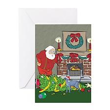 Santa's Helper Russian Blue Greeting Card