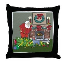 Santa's Helper Russian Blue Throw Pillow