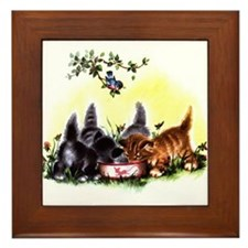 Vintage Little Kittens Framed Tile