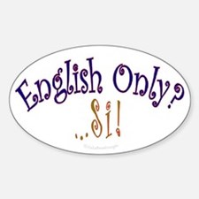 English Only Oval Decal