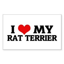 I Love My Rat Terrier Rectangle Decal