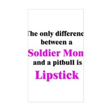Soldier Mom Pitbull Lipstick Rectangle Decal