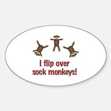 Flip Over Sock Monkeys Oval Decal