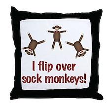 Flip Over Sock Monkeys Throw Pillow