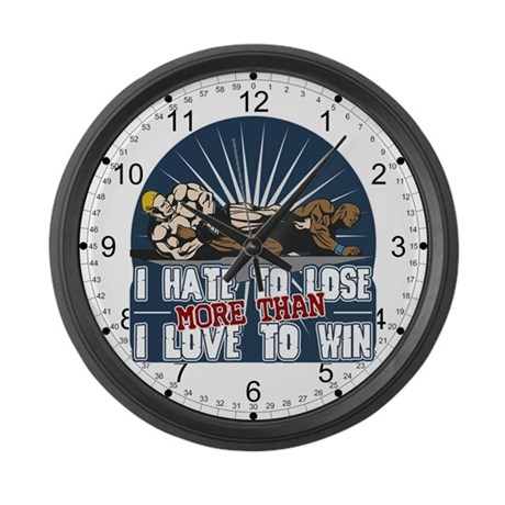 Hate to Lose Cage Fighter Large Wall Clock