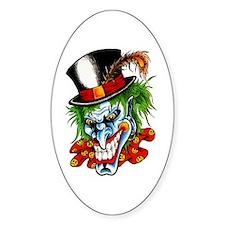 Mad Evil Clown Tattoo Oval Decal
