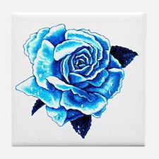 Ice Blue Rose Tile Coaster