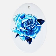 Ice Blue Rose Oval Ornament
