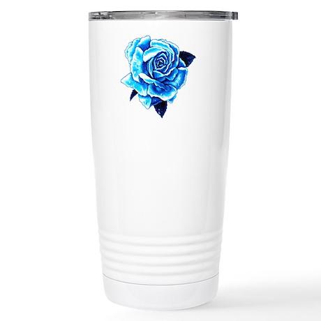 Ice Blue Rose Stainless Steel Travel Mug