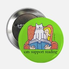"Cats Support Literacy 2.25"" Button"