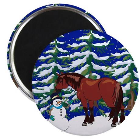 """Winter Clydesdale 2.25"""" Magnet (10 pack)"""