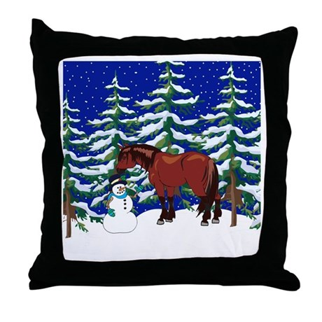 Winter Clydesdale Throw Pillow