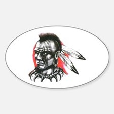 Mohawk Indian Tattoo Art Oval Decal