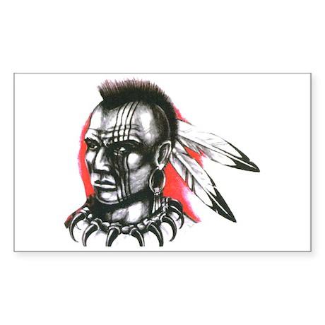 Mohawk Indian Tattoo Art Rectangle Sticker