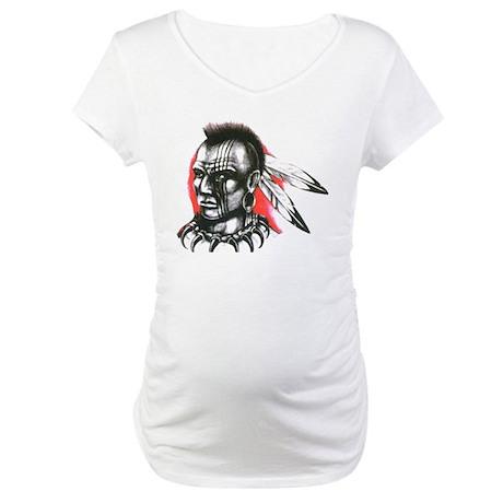 Mohawk Indian Tattoo Art (Front) Maternity T-Shirt