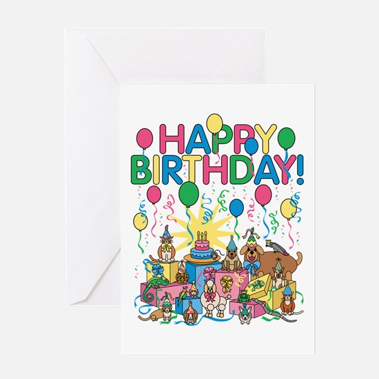Birthday Party Animals Greeting Cards