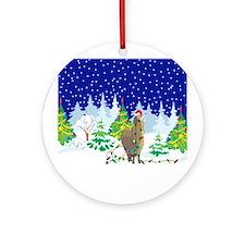 Christmas Lights Alpaca Ornament (Round)