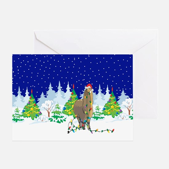 Christmas Lights Alpaca Greeting Card