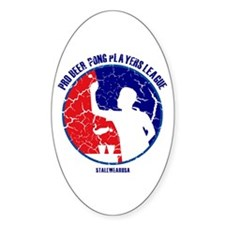 Retro/Distressed Beer Pong Pl Oval Decal