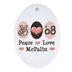 Peace Love McPalin Oval Ornament