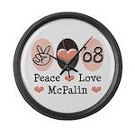 Peace Love McPalin Large Wall Clock