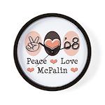 Peace Love McPalin Wall Clock