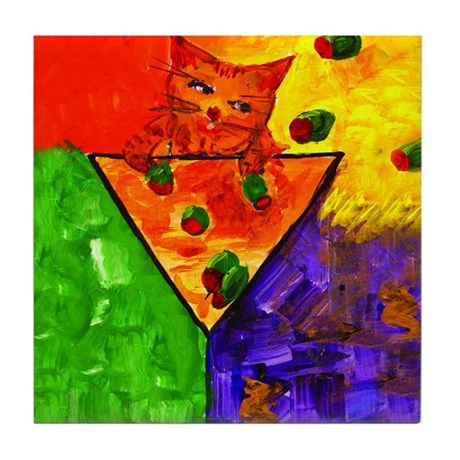 Tipsey Cat Just One More Tile Coaster