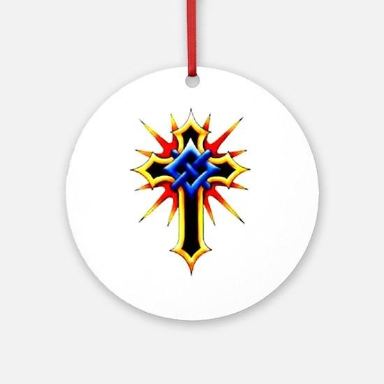 Religious Cross Tattoo Art Ornament (Round)