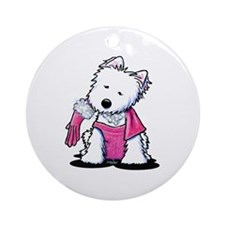 Material Girl Westie Ornament (Round)
