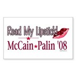 McCain Palin Read My Lipstick Rectangle Sticker