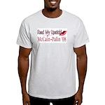 McCain Palin Read My Lipstick Light T-Shirt