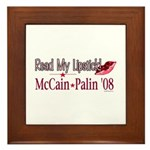 McCain Palin Read My Lipstick Framed Tile