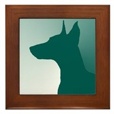 Forest Green Doberman Framed Tile