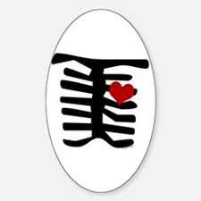 Skeleton with Heart Oval Decal