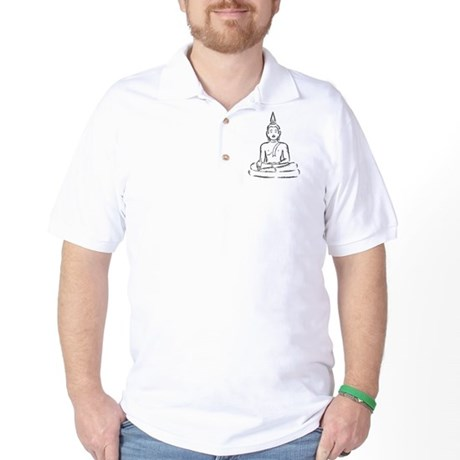 Serene Buddha Illustration Golf Shirt