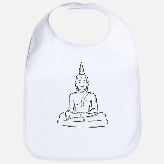 Serene Buddha Illustration Bib