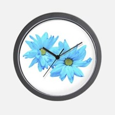 Two Blue Flowers Wall Clock