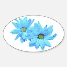 Two Blue Flowers Oval Decal