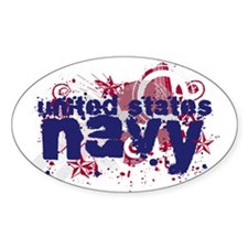 Navy Splat Oval Decal