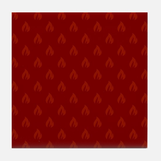 FLAMES - RED Tile Coaster