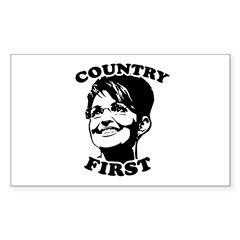 SARAH PALIN: Country First Rectangle Decal