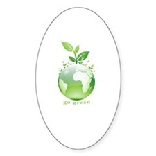Green World Oval Decal