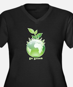 Green World Women's Plus Size V-Neck Dark T-Shirt
